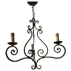 France Wrought Iron 3-light Pendant Light Ceiling Fixture