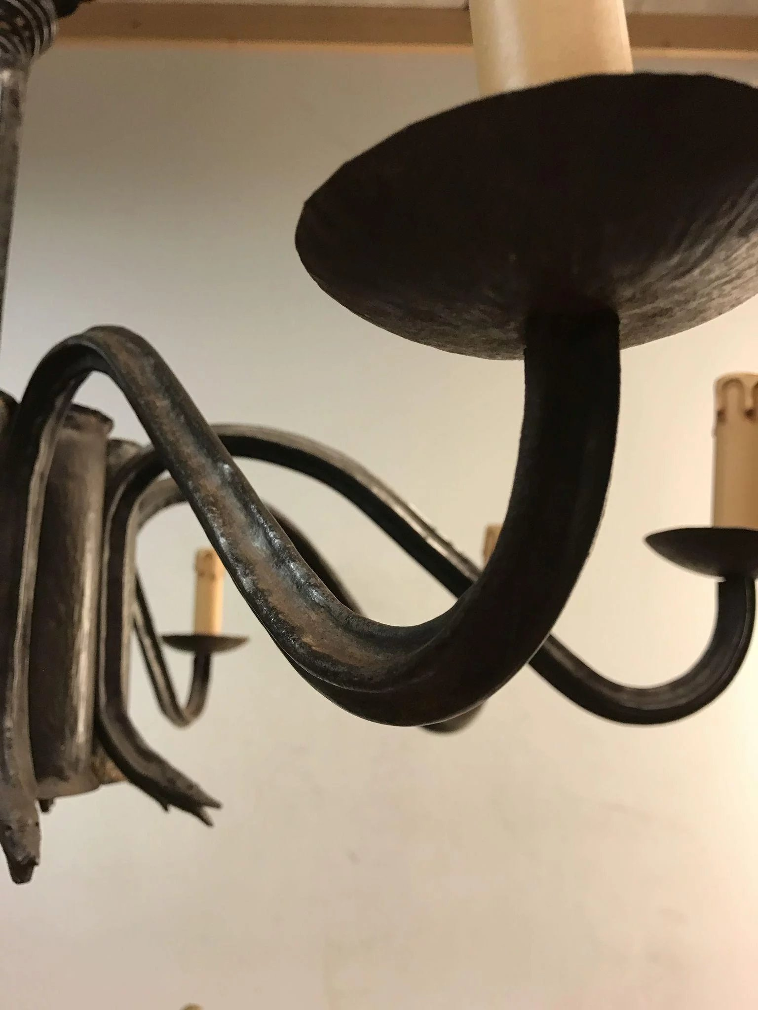 Rare Forged Wrought Iron 8 Light Chandelier With Snake