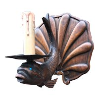 Early 1900 Carved Wood Fish Wall Sconce