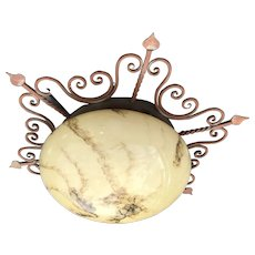Wrought Iron Ceiling Light Glass Globe Shade