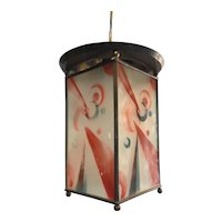 Art Deco Brass and Hand Painted Glass Pendant Ceiling Lamp