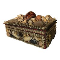 Antique Folk Art Shell Jewelry Box