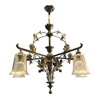 Art Nouveau Gilt Bronze Chandelier Chestnut Branches Leaves Motif