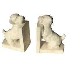 Pair Art Deco 1930′s Ceramic  Bookends Scottie Dogs