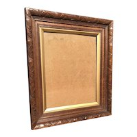 Arts and Crafts Carved Oak Picture Frame or Mirror Frame