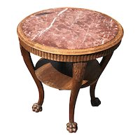 Early 1900 Center or End Table Carved Oak with a Marble Top