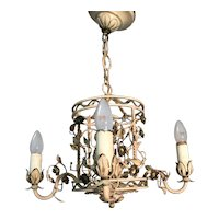 1920s. Hand Made Iron /  Brass Flowery Pendant Light Ceiling Lamp