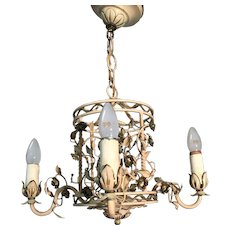 1920s. Hand Made Iron /  Brass Flowery Pendant Light Ceiling Lamp