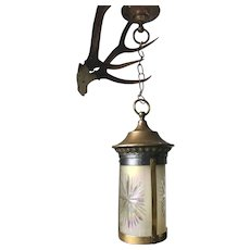__ On Hold for Lori __ Art Nouveau Brass and Hand Engraved Glass Pendant Light Ceiling Lamp