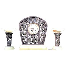 Museum Quality Floral Design Wrought Iron Art Nouveau Clock Set