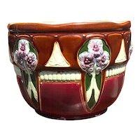 Arts & Crafts Majolica Earthenware Jardiniere Plant Holder Flower Design