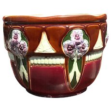 Arts & Crafts Majolica Earthenware Jardiniere Plant Holder Flower Design