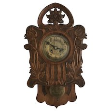 Art Nouveau era Jugendstil Style wooden Wall Clock Flower Design early 1900.