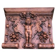 18th Century Antique French Hand Carved Oak Wood Angel Cherub Putti Wall Bracket