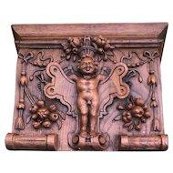 18th Century Antique French Hand Carved Oak Wood Angel Cherub Putti Wall Bracket