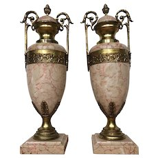 Pair of French Gilt Bronze and Marble Cassolettes Vases Urns 19th Century