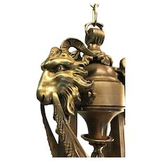 Bronze Pendant Light Ceiling Lamp with Ram's Heads Chandelier