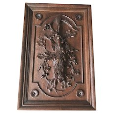 Antique Black Forest Carved Oak Hunting Plaque with Hare