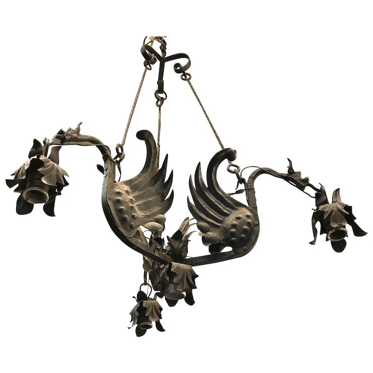 Forged Wrought Iron Gothic Art Dragon Pendant Light Ceiling Lamp