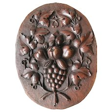 Antique Carved Wood Oval Wall Plaque