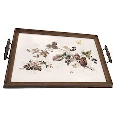 Antique Large Tile Serving Tray with Beautiful Flower Decor, Early 1900