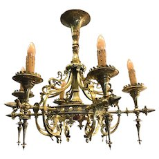 Arts and Crafts era Art Nouveau Bronze Pendant, Fixture, Chandelier
