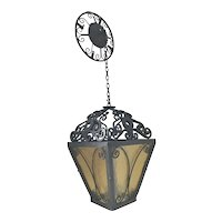 Arts and Crafts Wrought Iron Pendant Light or Lantern