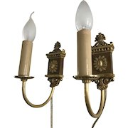 Vintage Pair of Bronze Wall Sconces, Light, Lamp, Fixture, Couple