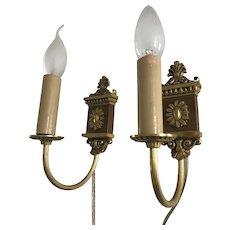 Vintage Pair of Bronze Wall Sconces, Light, Lamp, Fixture, Couple