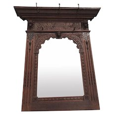 Sold to Kristina -- Antique Carved Oak Wall Mirror with Lion and Putti