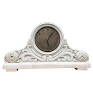 Early 1900 Carved Arts & Crafts Marble Mantel Clock with Floral Design