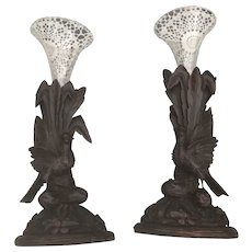 Antique Pair Black Forest Carved Candle or Flute Holders Stands with Pheasant