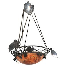 Arts and Crafts Wrought Iron & Alabaster Indian Summer Pendant Fixture Light