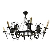 Large Forged Wrought Iron 8 Dragon Light Pendant Light / Chandelier