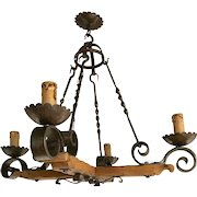 Vintage Country French Wrought Iron & Wood Chandelier
