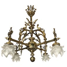Good Size, Early 1900 Bronze Chandelier with Koi Fish or Dolphin Sculptures