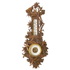 Striking Swiss Black Forest Nutwood Barometer Crafted with Edelweiss Flowers Swiss