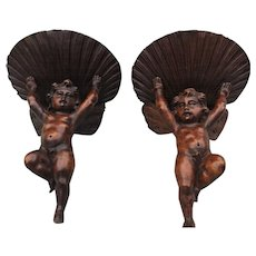 Pair of Early 1800 Carved Oak Cherub Wall Brackets