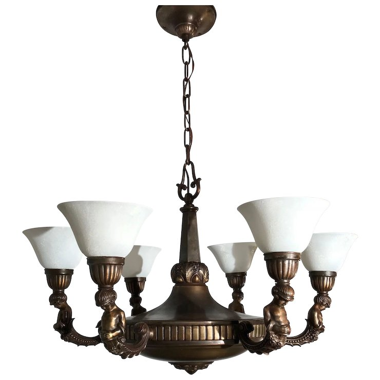 Art Nouveau Bronze Brass Putti Sculpture 6 Light Chandelier