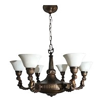Art Nouveau Bronze / Brass Putti Sculpture 6 Light Chandelier