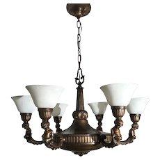 Art Nouveau Bronze / Brass Putti Sculpture 6 Light Chandelier