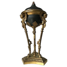 Antique Empire Gilt Bronze Sculpture Oil Lamp Converted to Electricity Table Lamp