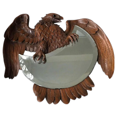 Antique Swiss Black Forest Carved Nutwood Eagle Wall Mirror