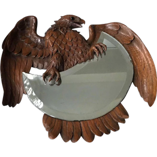 Antique Swiss Black Forest Carved Nutwood Mounted Eagle Wall Mirror