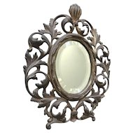 Antique Fine Bronze Table Mirror Scroll Leaves Picture Frame