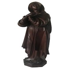 19th Century Carved Cherry Wood Statuette Sculpture of Saint Teresa of Avila, Spain