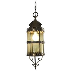 Arts & Crafts Bronze, Brass and Glass Pendant Light, Lantern