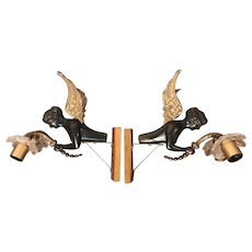 Stunning Pair Antique Figure Winged Female Angels Bronze Wall Sconces