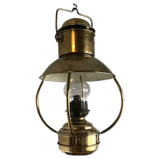 Antique Hand Forged Brass Hanging Oil Lamp