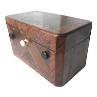 French Antique Veneered & Inlaid Wood Sewing Box